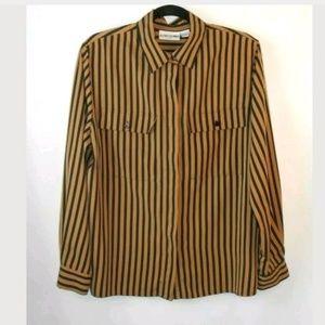 Vintage Tan Black Vertical Stripe Button Down Top